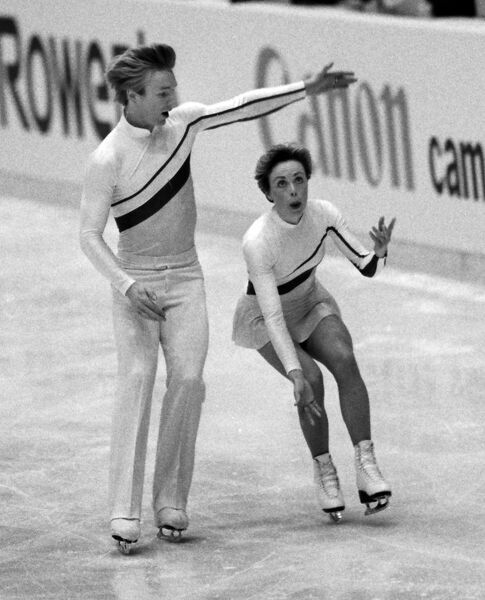 Figure Skating - 1983 Helsinki World Figure Skating Championships - Ice Dance Jayne Torvill and Christopher Dean during a training session. The pair would win the gold medal for Great Britain