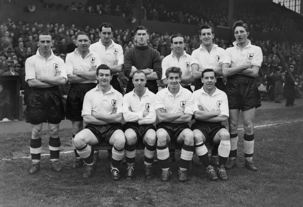 Football - 1954 / 1955 First Division - Burnley 1 Tottenham Hotpsur 2 The Tottenham Hotspur Team Group before the game at Turf Moor on 27/11/54. Back (left to right): John Gavin, Bill Nicholson, Harold Clarke, Ronald Reynolds, Alf Ramsey, Anthony Marchi