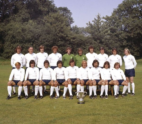 Football - 1973 / 1974 season - Tottenham Hotspur Team Group Photocall The Spurs Team Group with the 1973 League Cup trophy. They defeated Norwich City 1-0 in the final/