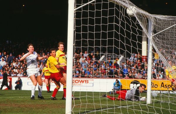 Gary Plumley (Watford Goalkeeper) can only watch as the ball hits the roof of thge net for another Tottenham Goal.Others : Clive Allen,Wilf Rostron and John McClelland. 11/04/1987. Tottenham Hotspur v Watford. FA Cup Semi Final 1987 Villa Park