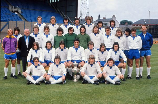 Football - 1973 / 1974 season - Tranmere Rovers Full Squad Team Group Ray Stubbs (back row, 2nd left), Ron Yeats (Manager), Markos Palios (bottom right - sitting), Steve Coppell (bottom row, 2nd left)