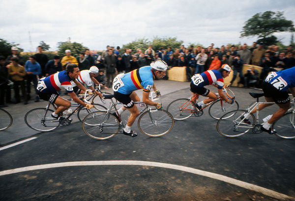 Road Cycling - 1970 UCI Road World Race Championships - Men's Professional Race     (l-r): France's Alain van Lancker (#44), Belgium's Frans Verbeeck (#26), France's Roland Berland (#46), at Mallory Park, Leicester.     16/08/1970