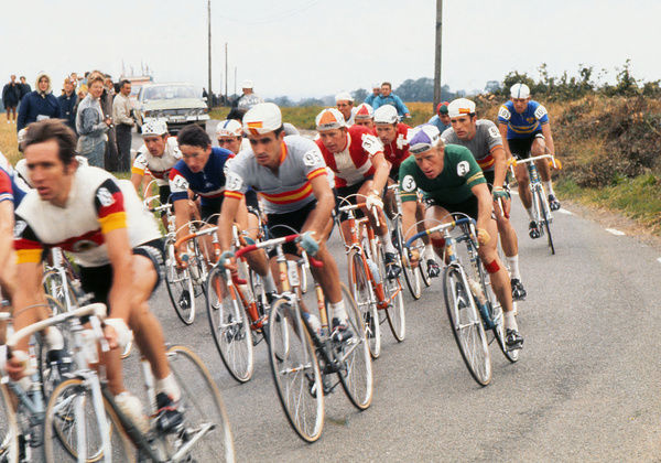 Road Cycling - 1970 UCI Road World Race Championships - Men's Professional Race     Pictured are: West Germany's Jurgen Tschan (#12), France's Roland Berland (#46), Spain's Andres Gandarias (#95), Denmark's Leif Mortensen (#31)