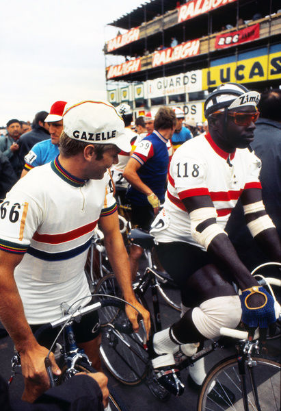 Road Cycling - 1970 UCI Road World Race Championships - Men's Professional Race     Defending champion, Holland's Harmen 'Harm' Ottenbros (#66) and Bahamas' Leonard 'Boston Blackie' Miller, before the start at Mallory Park, Leicester