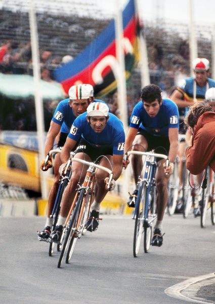 Road Cycling - 1970 UCI Road World Race Championships - Men's Professional Race     (l-r): Italy's Gianni Motta (#78), Giacinto Santambrogio (#79), and Felice Gimondi (#77), at Mallory Park, Leicester.     16/08/1970
