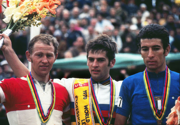 Road Cycling - 1970 UCI Road World Race Championships - Men's Professional Race     Race winner and new World Champion Jean-Pierre Monsere of Belgium, centre, with silver medalist Leif Mortensen of Denmark, left, and bronze medalist Felice