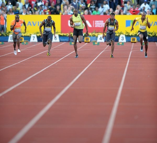 Usain Bolt powers to a win in the mens 100m final with a time of 9.92 Aviva London Grand Prix Crystal Palace National Sports Centre, London, UK 24/07/2009. Credit Colorsport/Dan Rowley