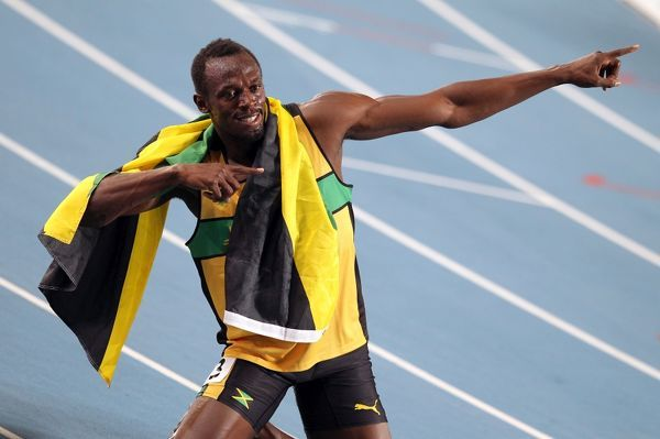 Athletics - World Championships 2011 - Daegu - Day Eight Usain Bolt of Jamaica celebrates his victory in the 200m, during day eight of The Athletics World Championships in Deagu, South Korea on 3rd September 2011. Ian MacNicol/Colorsport