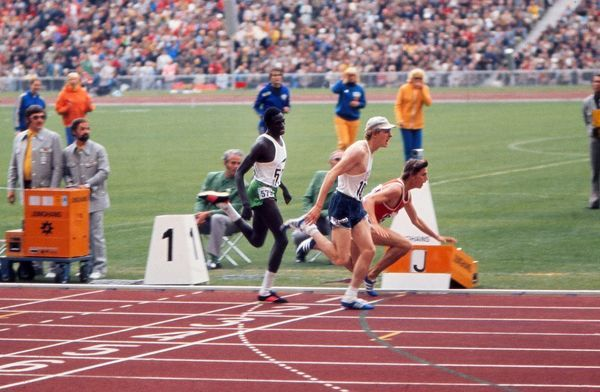 Athletics - 1972 Munich Olympics - Men's 800m Final The USA's Dave Wottle wins the gold medal despite the despairing dive of the USSR's Yevhen Arzhanov, while Kenya's Mike Boit takes the bronze in the Olympiastadion, Munich
