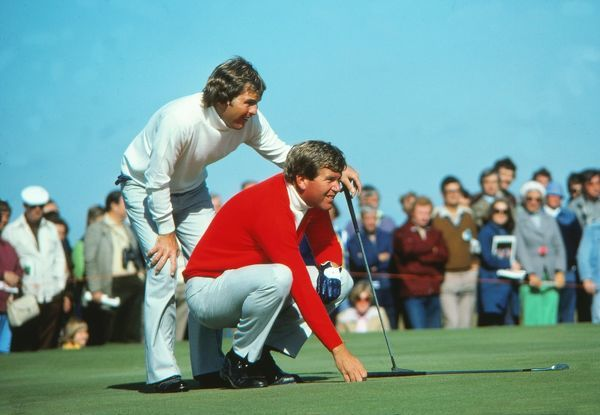 Golf - Ryder Cup 1977 - USA vs. Great Britain and Ireland Lanny Wadkins (left) and Ed Sneed (USA)in action at the Ryder Cup Tournament