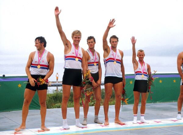 Rowing - 1984 Los Angeles Olympics - Men's Coxed Fours Medal Presentation Great Britain's gold medal winning team - Martin Cross, Richard Budgett, Andy Holmes, Adrian Ellison (cox) and Steve Redgrave - at Lake Casitas, Los Padres National Forest