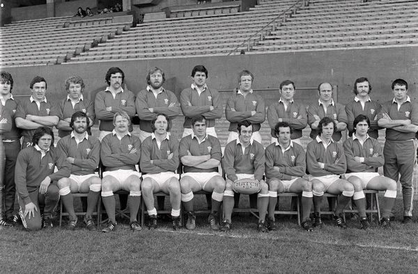Rugby Union - 1978 Five Nations Championship - Wales 16 France 7 The Wales team group before the game at Cardiff Arms Park on 18/3/78. Wales won the game to secure the Grand Slam. Back (left to right): Mike Watkins, Graham Price, Jeff Squire