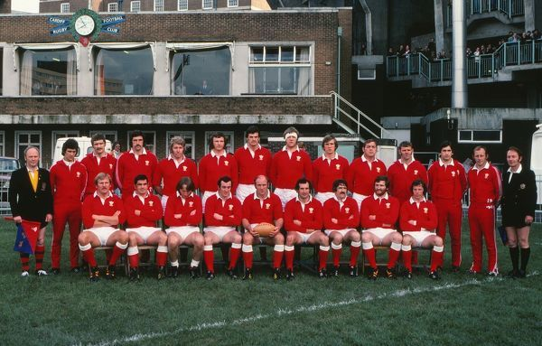 Rugby Union - 1976 Argentina Tour of Wales and England - Wales 20 Argentina 19 Wales Team Group Back (left to right):......, Derek Bevan, Jeff Squire, Graham Price, Trevor Evans, George Clegg, Geoff Wheel, Roy Bergiers, Charlie Faulkner, Roy Thomas