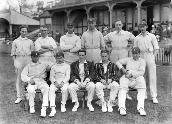 Cricket - 1914 season - Warwickshire County Cricket team group Back (left to right): Charlie Baker, Crowther Charlesworth, Syd Santall, Jack Parsons, Frank Field and Percy Jeeves. Front: Septimus 'Paul' Kinneir, Willie Quaife, Frank Foster, E