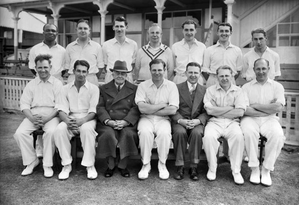 Cricket - Warwickshire County Cricket Club J. Ord's Benefit team group 1950 Back Row (left to right): Dereef Taylor, F. Gardner, T.Pritchard, J. Smith (Coach), H. Townsend, A. V. Wolton, R. T. Spooner Front Row (left to right): J. Ord, A