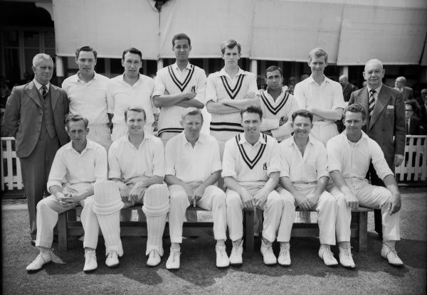 Cricket Warwickshire County Cricket Club Jack Bannister's Benefit Team v Worcestershire at Edgbaston (1964, July 11, 13, 14) Back row (left to right): Jack Wilkinson (scorer), John Jameson, Tom Cartwright, Rudi Webster, David Brown, Khalid