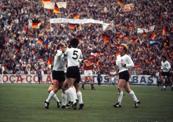 West German players celebrate their team's first goal in the final of Euro 72