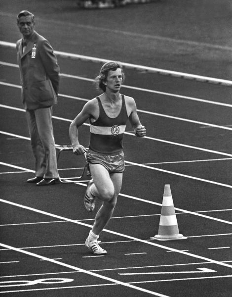 West German student Norbert Sudhaus runs into the stadium as a prank at the end of the marathon at the 1972 Munich Olympics