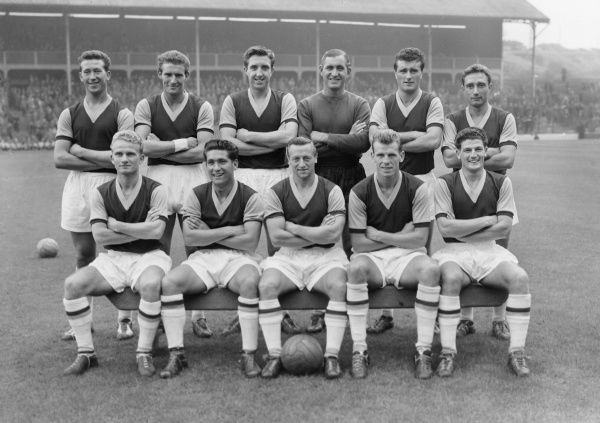 Football - 1957 / 1958 Second Division - Blackburn Rovers 2 West Ham United 1 The West Ham United team group before the game at Ewood Park on 26/8/57. Back (left to right): Ken Brown, Malcolm Allison, John Bond, Ernie Gregory, Noel Cantwell, A