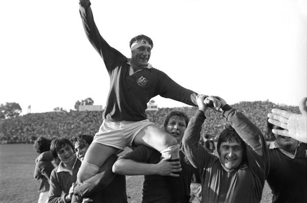 Rugby Union - 1974 British Lions tour to South Africa - Third Test: South Africa 9 British Lions 26 (13/07/1974) Lions captain Willie John McBride is chaired off the field by teammates Gordon Brown, Ian McLauchlan and Bobby Windsor (left), with