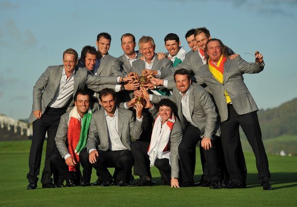 Golf - Ryder Cup 2010 - Day 4, Singles The Europe team celebrate with the Ryder Cup trophy at Celtic Manor, Newport