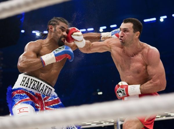 Boxing - WBA IBO WBO Heavyweight Unification Fight - Wladimir Klitschko vs. David Haye  Klitschko lands a punch on his way to a unanimous points decision
