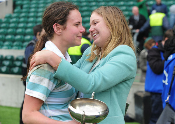 Rugby Union - 2015 Varsity Match - Oxford University Women vs. Cambridge University Women     Cambridge Captain, Nikki Weckman (left) sheds a tear after the match at Twickenham.     COLORSPORT/ANDREW COWIE