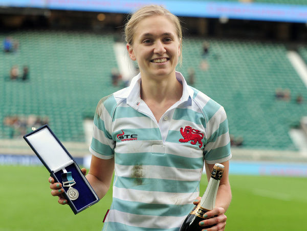 Rugby Union - 2015 Women's Varsity Match - Oxford University Women vs. Cambridge University Women    Alice Middleton of Cambridge (Woman of the match) with her medal at Twickenham.    COLORSPORT/ANDREW COWIE