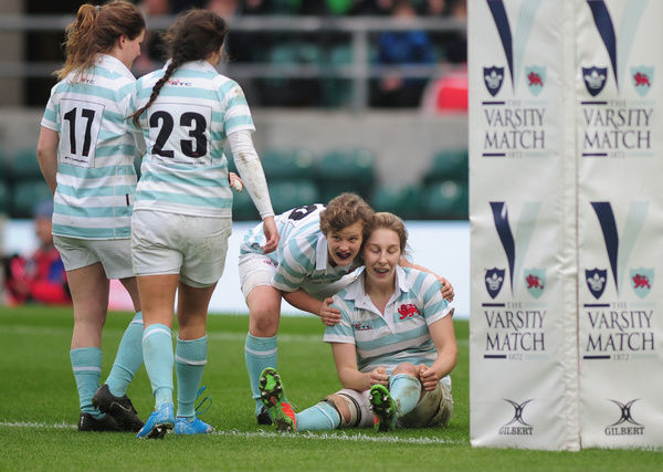 Rugby Union - 2015 Women's Varsity Match - Oxford University Women vs. Cambridge University Women    Anna Wilson celebrates her 3th try at Twickenham.    COLORSPORT/ANDREW COWIE