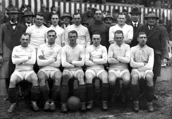 Football - 1923 / 1924 Third Division (North) - Wrexham 2 Walsall 1 The Wrexham Team Group before the game at Fellows Park. Back row (left to right): Mr Arthur Moffat, Ted Robinson (Secretary), Ted Regan, Alf Jones, Noel Edwards, Tommy Boyle