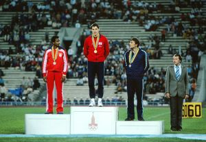 The 100m podium at the 1980 Moscow Olympics