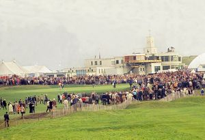 The 18th green and clubhouse at Royal Birkdale during the 1969 Ryder Cup