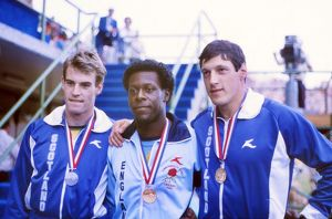1982 Brisbane Commonwealth Games 200m medalists - Allan Wells & Mike McFarlane (shared gold)