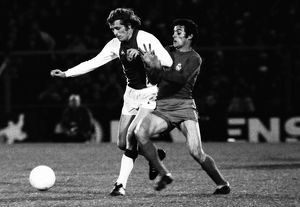 Ajax's Piet Keizer is challenged by Real Madrid's Jose Luis