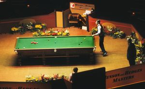 Alex Higgins at the table, 1981 Benson & Hedges Masters Final