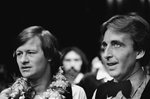 Alex Higgins & Terry Griffiths after the 1981 Benson & Hedges Masters Final