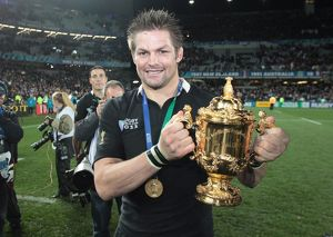 All Black captain Richie McCaw with the Webb Ellis Cup