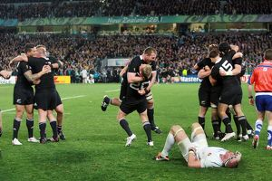The All Blacks celebrate at the final whistle of the 2011 Rugby World Cup Final