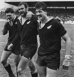All Blacks Murray Mexted, Andy Haden, and Geoff Old celebrate after New Zealand complete