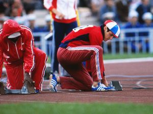 Allan Wells prepares for the 100m final at the 1980 Moscow Olympics