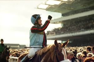 AP McCoy on the Mr Mulligan celebrates winning the 1997 Cheltenham Gold Cup