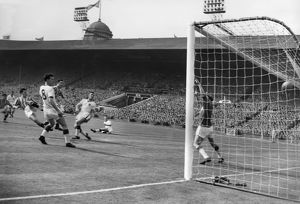 Aston Villa's Peter McParland scores his second goal in the 1957 FA Cup Final