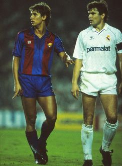 Barcelona's Gary Lineker and Real Madrid's Jose Antonio Camacho