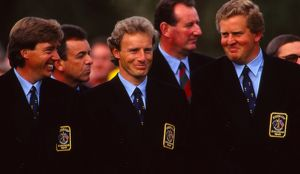 Barry Lane, Bernhard Langer and Colin Montgomerie share a laugh during the 1993 Ryder Cup
