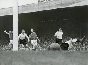 Bobby Charlton scores his first ever Manchester United goal