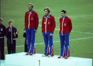 Britain's gold medal-winning modern pentathlon team at the 1976 Montreal Olympics