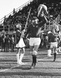 British Lions captain Willie John McBride leads his team out against the Leopards in 1974