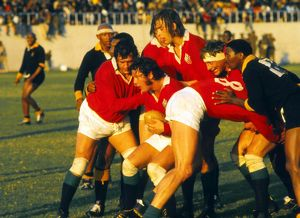 The British Lions forwards drive the ball against the Leopards in 1974