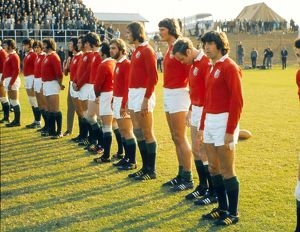 The British Lions line up before facing the Leopards in 1974