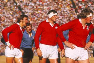 British Lions Roger Uttley, Willie John McBride and Gordon Brown